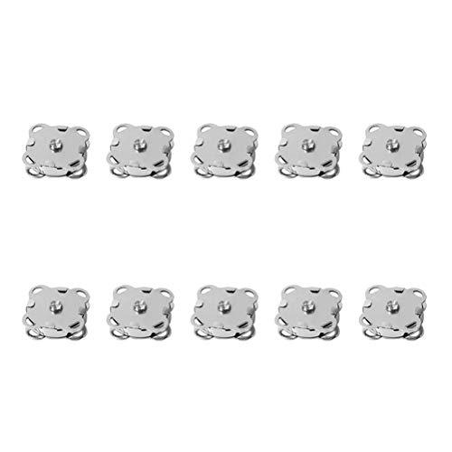 SUPVOX 10pcs Bottoni magnetici Bottoni Automatici Bottoni Fibbia in Metallo catenacci Fiore di Prugna per Borse Portamonete Vestiti 14mm (Argento)