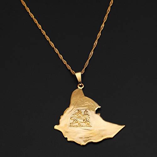 WDBUN Collar Colgante Collares con Colgante de Mapa de Ehiopian, Cadena de Mapa de león de Color Dorado para Mujeres y Hombres Navidad Día de la Madre Día de San Valentín cumpleaños Regalo