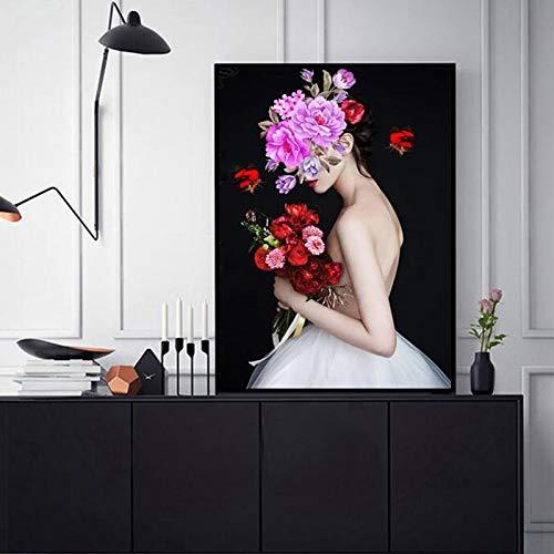 YuanMinglu Nordic Minimalismus Poster Beauty Illustration Schmetterling Blume Stoff Moderne Wohnaccessoires Schlafzimmer Wandbild Rahmenlos 30x40cm
