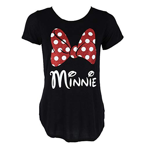 Disney Minnie Red Sparkle Polka Dot Bow T-Shirt for Moms (Women's, Small)