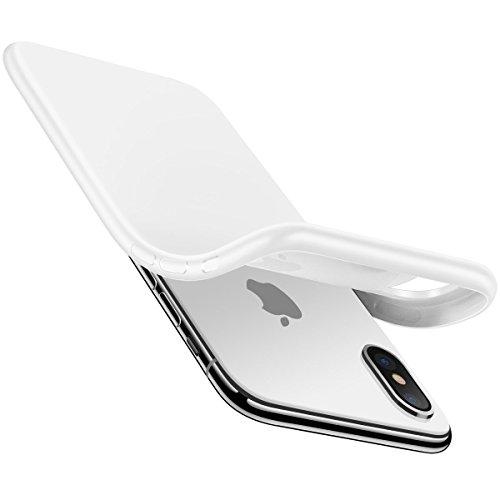 AVANA iPhone X Hülle Schutzhülle Slim Fit Case Schutz Tasche Silikon TPU Handyhülle Dünne Weiche Schale Cover für Apple iPhone 10/iPhone X - Matt Weiß