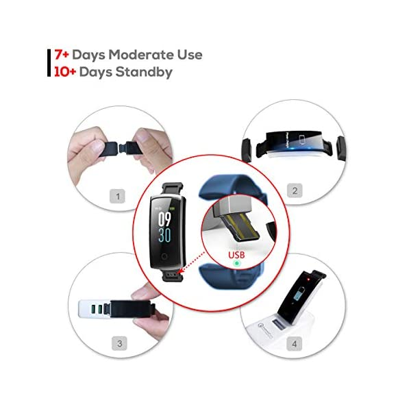 CHEREEKI Pulsera Actividad, Pulsera de Actividad con Monitor Ritmo Cardíaco Medición de la presión Arterial IP68… 4