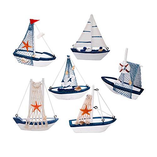 GZQ Adorno Decorativo Barco,6 pcs Madera para Barco Marinero,Adorno de Mesa con Bandera de Barco de Vela, Decoración Náutica