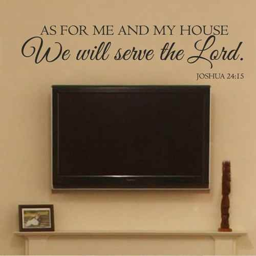 As for Me and My House We Will Serve The Lord - Joshua 24:15 Scripture Religious Wall Decal Vinyl Bible Verse (Black,l)