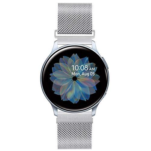 20mm Correa de Reloj de Malla Acero Inoxidable para Samsung Galaxy Watch 42mm/Active2 44mm 40mm /Gear Sport/Gear S2 Classic/Garmin Vivoactive 3, Correa Metal Deporte Bandas Repuesto (20mm, Plata)