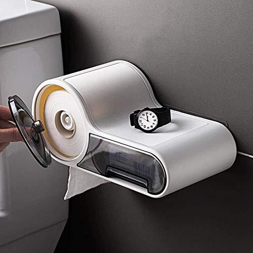 MySixKeen Soporte de Papel higiénico Negro, Caja de Soporte de Papel de Seda autoadhesiva montada en la Pared Caja de pañuelos Transparente ecológica