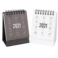 BESTOYARD 2021年カレンダー 卓上 実用性 テーブルカレンダー シンプル 2点セット ブラック ホワイト