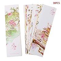 Sariyao 30本の創造的な中国の紙のしおりの花、紙のしおり、記念の贈り物 学生の執筆者がキーポイントをマークするのに適した、ユニークな中国風のしおり、出張祝い