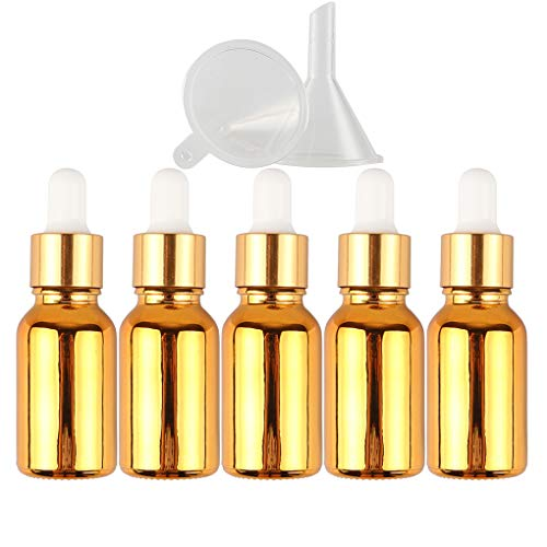 (5PCS) 15ML Empty Electroplating Glass Dropper Bottles, Refillable Golden Essential Oil Bottles with Glass Dropper Dispenser, Small Sample Glass Bottles for Essential Oil Aromatherapy Use + Funnel