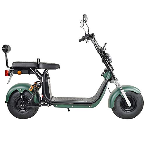 E Scooter 1200W Citycoco 2 Sitze Höchstgeschwindigkeit 40km/h E-Bike für Erwachsene Offroad-Roller 60V Langstreckenbatterie Elektroroller Erwachsene Electric Scooter mit Straßenzulassung (Grün)