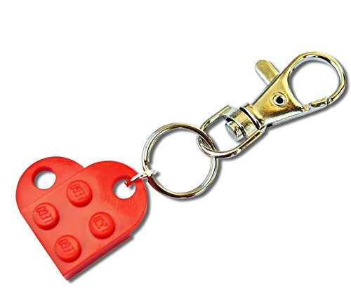 SJP - Gemelos con forma de corazón hecho a mano con placas de Lego®, color rojo, para boda, novia, San Valentín, cumpleaños, regalo de joyería para mujer