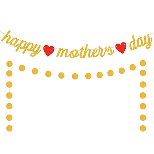 Happy Mothers Day Banner Gold Glitter Mother#039s Day Banner Rustic Mothers Day Party Decorations