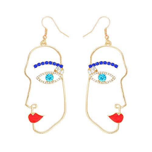 JOYID Abstract Face Dangle Earrings Women Face Contour Fashion Jewelry for Women Girls-Stype 1