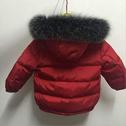QINGNIU Winter Boys Casual Daunenjacke,Neuer Abnehmbarer Hut mit echtem Pelzkragen und hochwertiger Daunenmantel mit Reißverschluss,Kurzmantel für Kinder,Rot,Rot,6