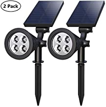 Solar Spotlights, 10-in-1 LED Landscape Solar Lights, 180° Adjustable Waterproof Outdoor Security Lighting Landscape Lighting with Auto On/Off and High/Low Mode for Backyard Patio Driveway Lawn
