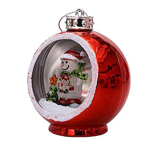 POHOVE Batteriebetriebener 3D-Baum, zum Aufhängen, Heimdeko, Partyzubehör, Weihnachts-Ball, Licht (rot, Größe: Schneemann)