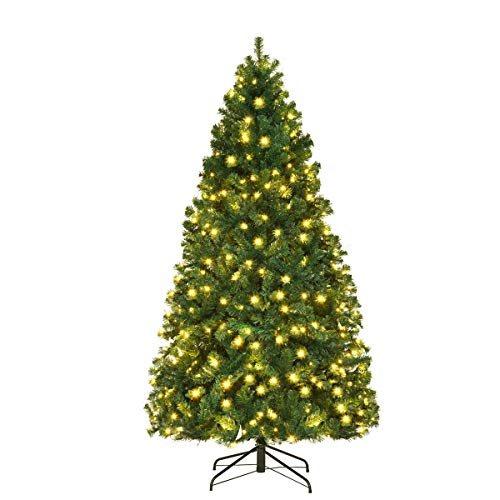 Goplus 7FT Pre-Lit Artificial Christmas Tree Premium Spruce Hinged Xmas Tree with 300 LED Lights & Metal Stand for Indoor Use