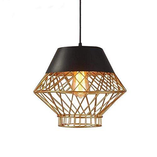 Lámpara colgante vintage jaula de metal con acabado de cobre lámpara colgante de techo art deco restaurante nórdico araña retro alambre de hierro lámpara redonda de hierro forjado