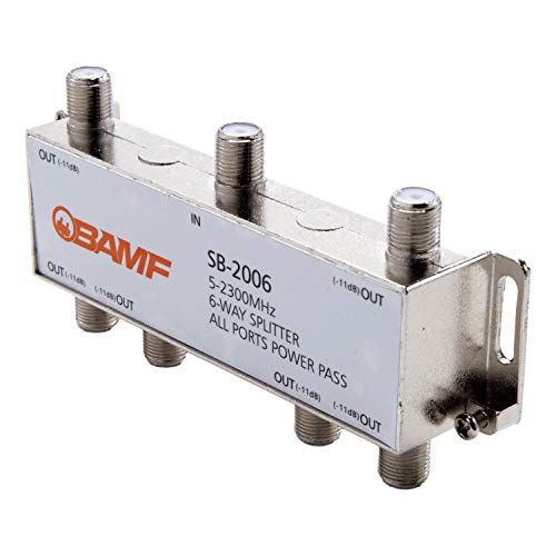 BAMF 6-Way Coax Cable Splitter Bi-Directional MoCA 5-2300MHz