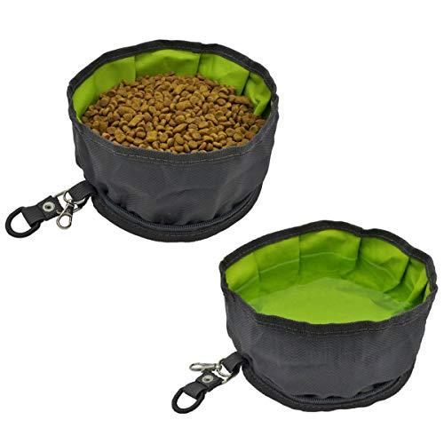 AYADA Hundenapf Reisenäpfe Faltbar für Hund Haustier, Auslaufsicher Tragbar Unterwegs mit Reißverschluss Futternapf und Trinknapf (2 Stück) - Grau