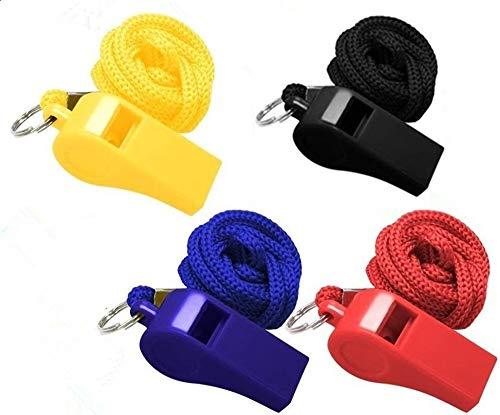 Silbatos Plastico,8 Pack Silbato Árbitro Niños Perros Ruidoso Whistle con Cordón Negro 45cm para Baloncesto Deportivo Fútbol 4.7 x2.2CM Azul Rojo Amarillo Negro