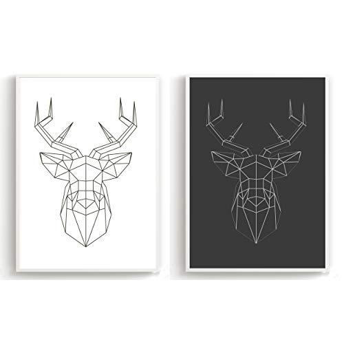 Flanacom Póster de Diseño Set de 2 - A3 Negro Blanco - Impresión Artística Papel Premium de Alto Brillo - Cuadros Escandinavos - Decoración Moderna - Diferentes Diseños (Ciervos Poligoneros)