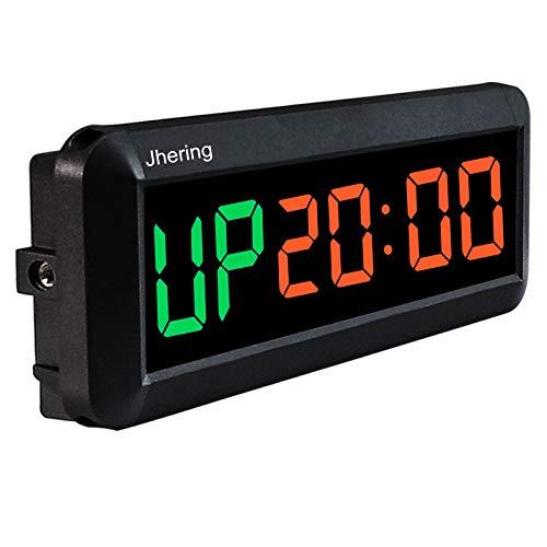 Jhering LED Temporizador de Intervalo, Cronómetro, Reloj de Cuenta Atrás/Arriba, Temporizador de Gimnasio con Remoto, Temporizador de Entrenamiento para Gimnasio en Casa Garaje Fitness(Verde/Rojo)