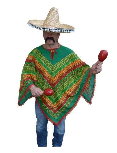 Super Mexikaner Poncho - Kostüm - Mexiko - Universalgrösse