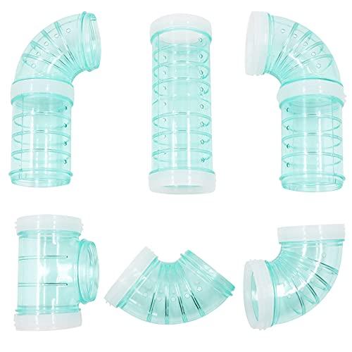 Tubos para hámster, tubos de exterior para el Aventura, materiales transparentes, jaula y accesorios para hámster, juguetes para ampliar el espacio, conexión creativa, túnel, Vía (Azul Verde)