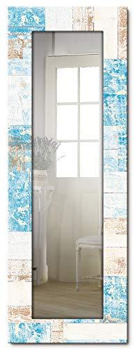 Artland Ganzkörperspiegel Holzrahmen zum Aufhängen Wandspiegel 50x140 cm Design Spiegel Abstrakt Kunst Shabby Chic Landhaus Maritim Blau T9QQ