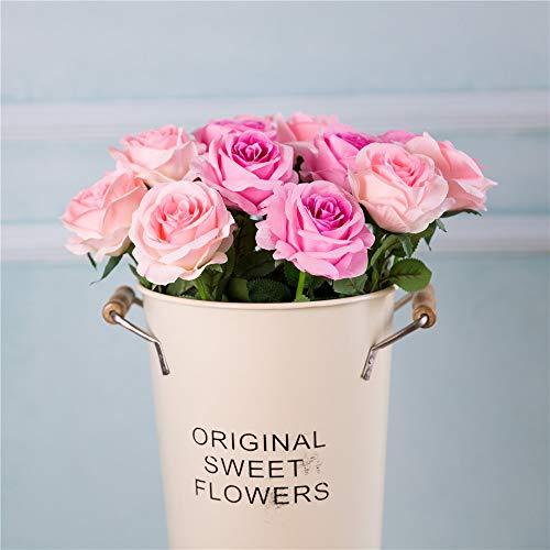 Eternal Blossom 10pcs Artificial Rose Silk Flower 50cm Fake Rose Blossom Bridal Bouquet for Home Wedding Decor (Purple) Silk Flower Arrangements
