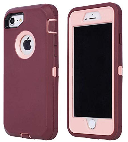 Annymall Case Compatible for iPhone 8 & iPhone 7, Heavy Duty [with Kickstand] [Built-in Screen Protector] Tough 4 in1 Rugged Shorkproof Cover for Apple iPhone 7 / iPhone 8 (Burgundy/Pink)