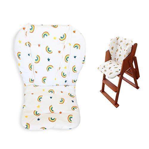 Myukbest Baby High Chair Cushion, Pad éPais Pour Chaise Haute En Bois, Baby Dining Chair Liner Mat (Yellow Rainbow)