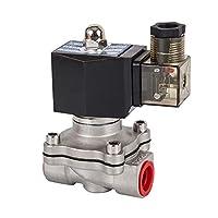 """DN15~50、通常閉じた電磁弁、304ステンレス鋼の水石油弁、湿気プルーフ、AC 110V 220V 380V 24V、DC 12V 24V 車に適しています (Specification : 1 1/2"""", Voltage : AC 24V)"""