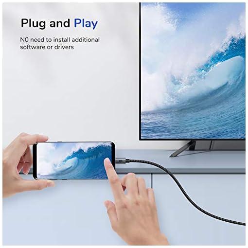 Syncwire Cable USB C a HDMI 4K@60Hz - [Chapado en Oro 24K] Cable Tipo C 3.1 a HDMI 1.8M Nylon Trenzado [Thunderbolt 3… 3