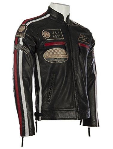 Herren echtes Leder Bikerjacke mit Bandkragen und Rennabzeichen von MDK - 3