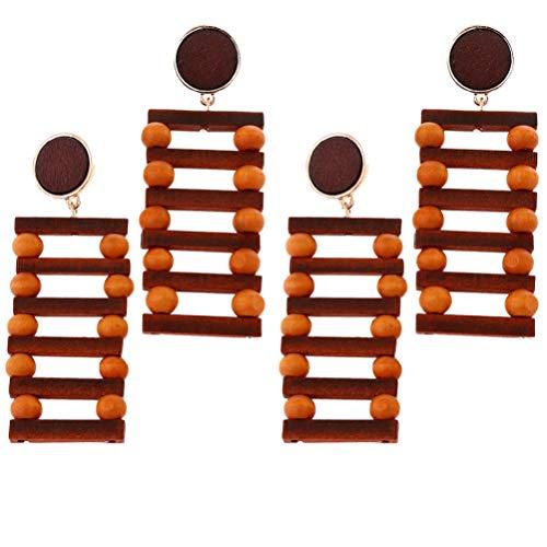 Amosfun 2 pares de 4 pendientes de cuentas geométricas de madera para mujer
