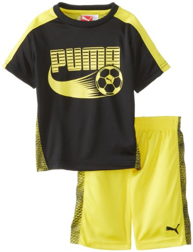 PUMA Little Boys' Toddler Soccer Set, Black, 2T