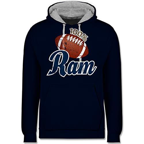 Shirtracer American Football - 100% Ram - S - Navy Blau/Grau meliert - American Football rams - JH003 - Hoodie zweifarbig und Kapuzenpullover für Herren und Damen