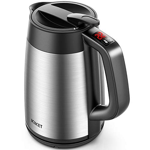 Electric Kettle Temperature Control, 1.7L Insulated Electric Tea Kettle with Double Wall Cool Touch, Overnight Stay Warm and Safety Locker, BPA free