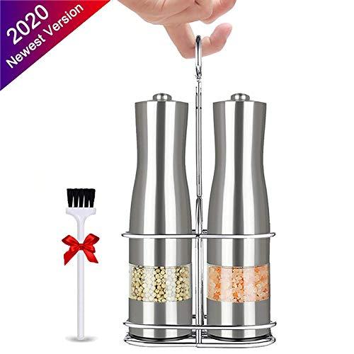 NEW Elektrische Pepermolen RVS Salt and Pepper Grinder Verstelbare Ceramic met LED-licht Keuken Automatische Spice Mill
