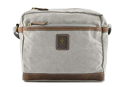 Cactus Canvas and Distressed Oiled Leather Shoulder/Cross Body Bag 827_81 Grey