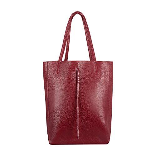 SKUTARI® Leder Vittoria Classic - Damen Shopper aus echtem Leder, Handtasche mit eingenähter Innentasche, handgefertigt in Italien, Fashion Tragetasche mit langen Griffen, 37 x 38 x 14 cm (Bordeaux)