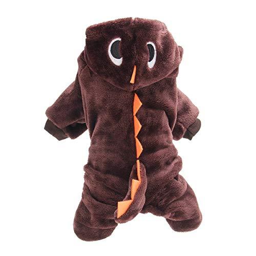Nobrand dinosaurus kleding voor huisdieren, herfst en winter, grappige dieren, M, Koffie