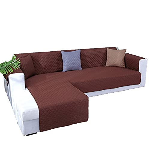 BSZD wasserdichte Ecksofa-Cover, für Wohnzimmer Universal l Form gesteppter Couchabdeckung, Fester Slipcover Sofa Protector 1/2 / 3Seater (Color : Coffee, Specification : 2 Seater S 116x190cm)