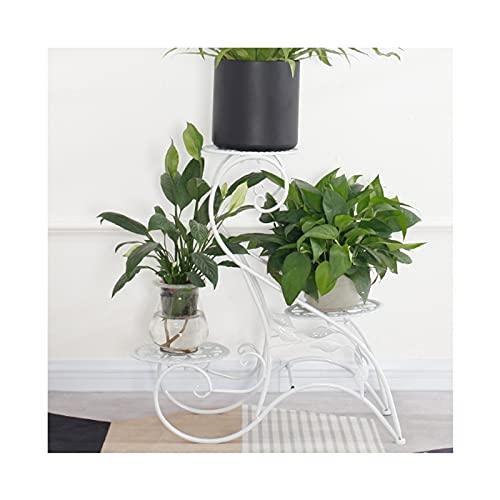 RunjinXinghe Retro-Kunst-Pflanzenständer, Balkon 3-Schicht-Blumentopf-Regale, umweltfreundliches Eisen-Bodenständer-Pflanzenregal, stabiles Eck-Blumendisplay für den Innen- und Außenbereich
