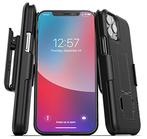 Encased DuraClip Seies Compatible with iPhone 12 Pro Max Belt Clip Case Slim Cover with Holster - Black