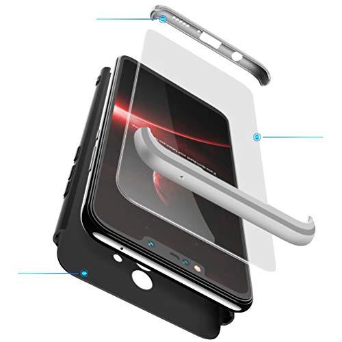 BESTCASESKIN Hülle Kompatibel mit Xiaomi Mi Mix 2S Handyhülle,Superleichte Superdünne 3 in 1 PC Schutzhülle Stoßfeste Kratzfeste + Gratis Panzerglas Schutzfolie Silber Schwarz