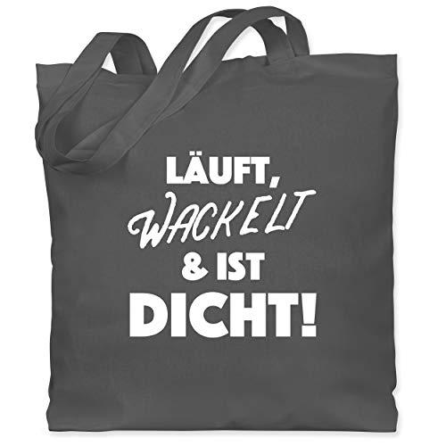 Sprüche - Läuft, Wackelt & ist dicht! - Unisize - Dunkelgrau - Geschenk - WM101 - Stoffbeutel aus Baumwolle Jutebeutel lange Henkel