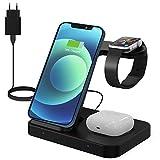 Chargeur sans Fil 15W - 3 en 1 Chargeur à Induction Rapide, Station de Charge Compatible avec Apple...